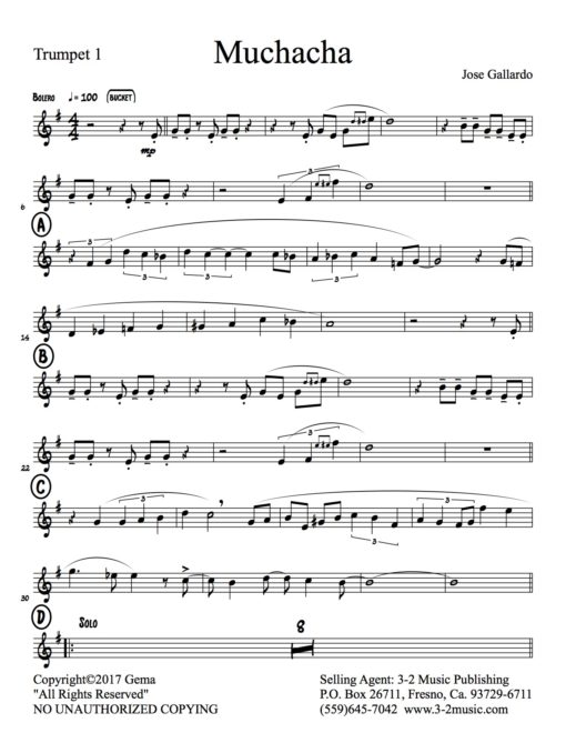 Muchacha-Latin jazz printed sheet music
